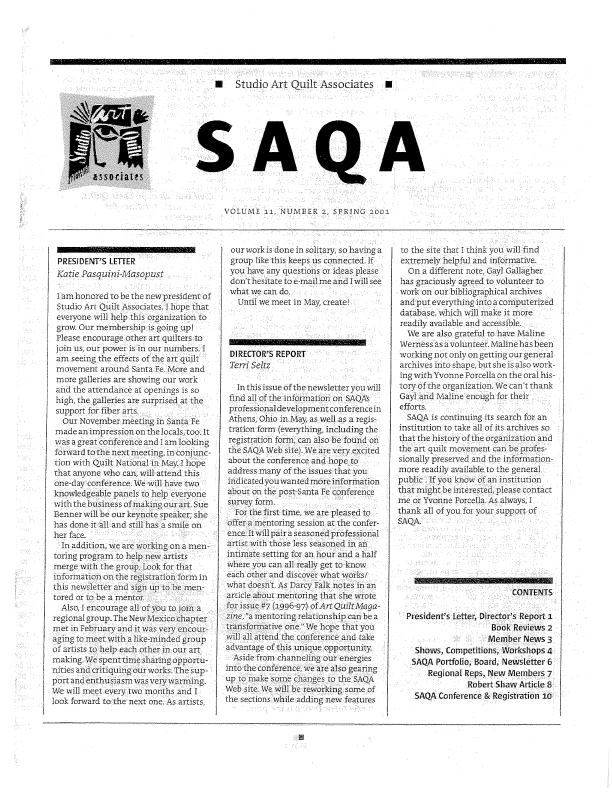 SAQA Journal 2001 Vol. 11 No. 2