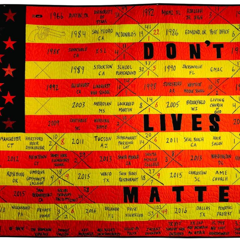Kelly  Burke - Quilted Reimagined American Flag Series III: Don't Lives Matter?