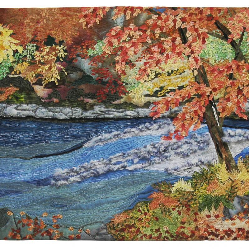 Catherine  Ruth Timm - Fall Scene by the Rapids