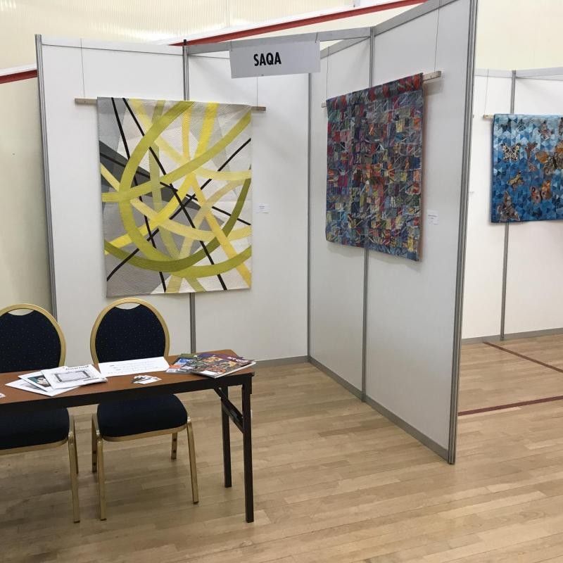 "Prague Patchwork Meeting 2019: View of the ""Wide Horizons VI"" regional exhibit (before the crowd came…) - photo credit: Birgit Schueller"