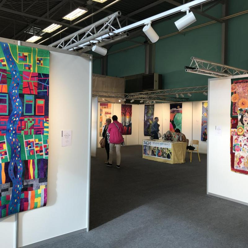 "European Patchwork Meeting 2019, Sainte-Marie-aux-Mines, France: View of the SAQA global exhibit ""Season After Season"" - photo credit: Birgit Schueller"